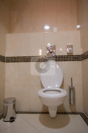 Toilette stock photo, Toilette in hotel room by Istv??n Cs??k