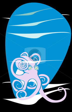 Octopus Underwater stock vector clipart, Octopus in an underwater setting with ripples and waves by Jeffrey Thompson