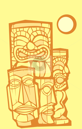 Group of Tikis stock vector clipart, Mixed group of tikis side and front views. by Jeffrey Thompson
