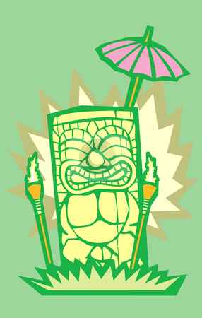 Tiki Drinks stock vector clipart, Retro tiki drinks in an island setting with poster dimensions. by Jeffrey Thompson