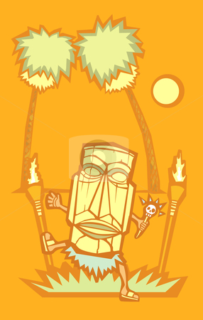 Retro Tiki Witchdoctor stock vector clipart, Retro styled Witchdoctor with Tiki mask and skull wand. by Jeffrey Thompson