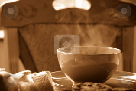 Hot soup stock photo, Dinner served on table, hot soup in bowl in sepia colors by Julija Sapic