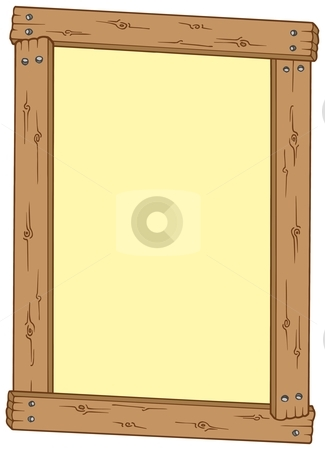 Wooden frame stock vector clipart, Wooden frame on white background - vector illustration. by Klara Viskova