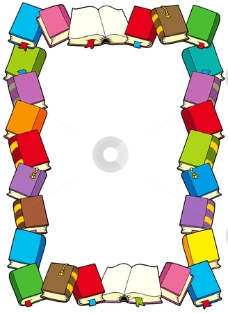 Frame from books stock vector clipart, Frame from books - vector illustration. by Klara Viskova