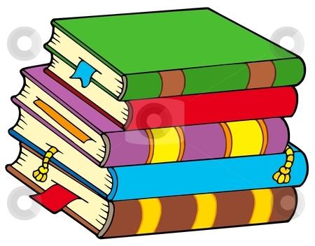 Pile of colorful books stock vector clipart, Pile of colorful books - vector illustration. by Klara Viskova