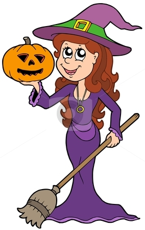 Halloween girl wizard stock vector clipart, Halloween girl wizard - vector illustration. by Klara Viskova