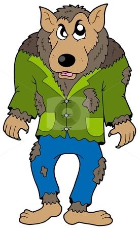 Cartoon werewolf stock vector clipart, Cartoon werewolf on white background - vector illustration. by Klara Viskova