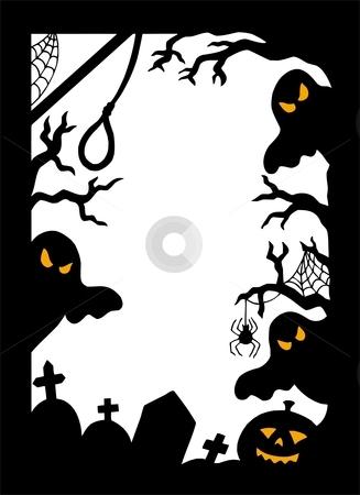 Halloween silhouette frame stock vector clipart, Halloween silhouette frame - vector illustration. by Klara Viskova