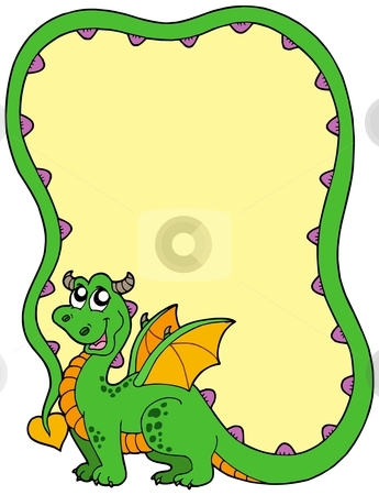 Dragon frame stock vector clipart, Dragon frame on white background - vector illustration. by Klara Viskova
