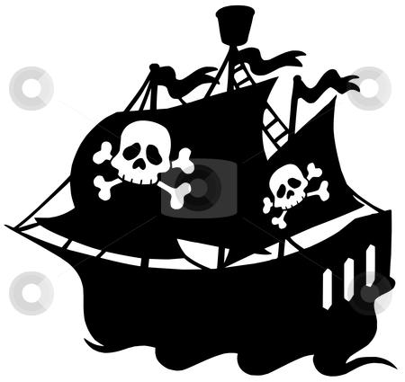 Pirate ship silhouette stock vector clipart, Pirate ship silhouette - vector illustration. by Klara Viskova