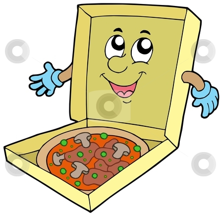 Cartoon pizza box stock vector clipart, Cartoon pizza box - vector illustration. by Klara Viskova