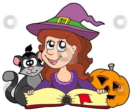 Halloween girl reading book stock vector clipart, Halloween girl reading book - vector illustration. by Klara Viskova