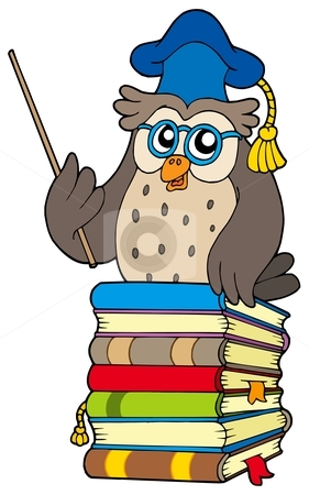 Wise owl teacher on books stock vector clipart, Wise owl teacher on books - vector illustration. by Klara Viskova