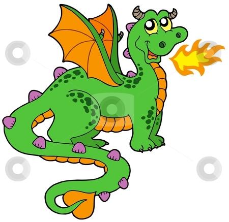 Cute dragon with long tail stock vector clipart, Cute dragon with long tail - vector illustration. by Klara Viskova