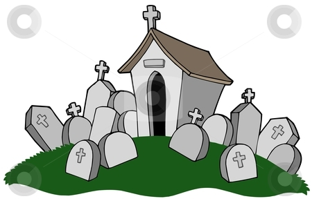 Cemetery with tomb stock vector clipart, Cemetery with tomb - vector illustration. by Klara Viskova