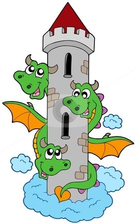 Three headed dragon with tower stock vector clipart, Three headed dragon with tower - vector illustration. by Klara Viskova