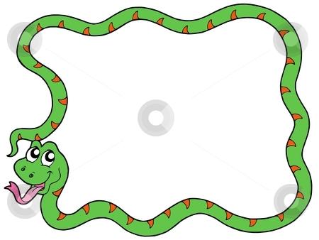 Snake vector frame stock vector clipart, Snake frame 2 on white background - vector illustration. by Klara Viskova