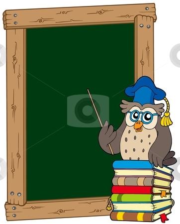 Board with owl teacher and books stock vector clipart, Board with owl teacher and books - vector illustration. by Klara Viskova