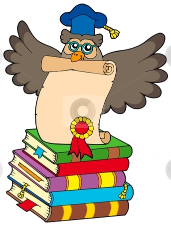 Wise owl with diploma and books stock vector clipart, Wise owl with diploma and books - vector illustration. by Klara Viskova