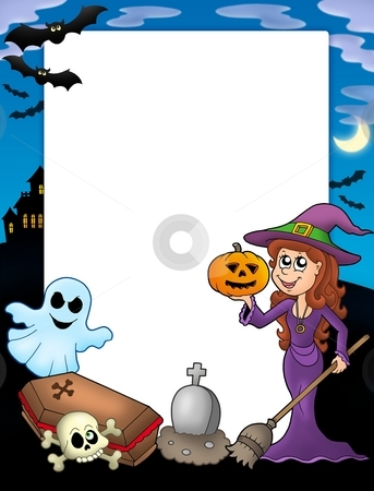 Halloween frame 2 stock photo, Halloween frame 2 with various objects - color illustration. by Klara Viskova