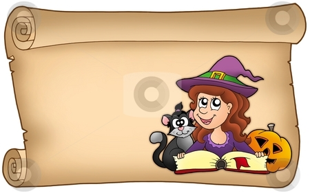 Scroll with Halloween girl stock photo, Scroll with Halloween girl - color illustration. by Klara Viskova