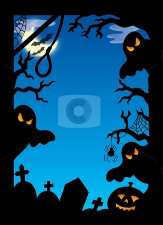 Spooky silhouette frame stock photo, Spooky silhouette frame - color illustration. by Klara Viskova