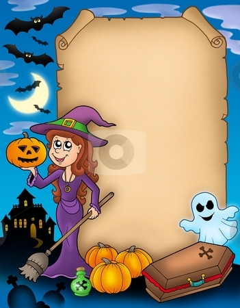 Halloween parchment 4 stock photo, Halloween parchment 4 with various objects - color illustration. by Klara Viskova