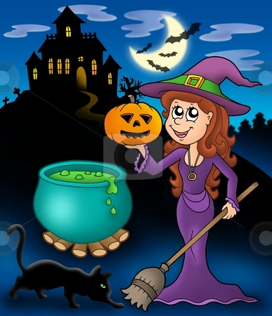 Haunted mansion with wizard girl stock photo, Haunted mansion with wizard girl - color illustration. by Klara Viskova