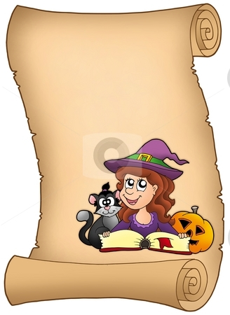 Parchment with Halloween girl stock photo, Parchment with Halloween girl - color illustration. by Klara Viskova