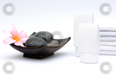 Spa setting  stock photo, Spa setting on white background by Jaggat Images