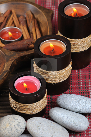 Spa candle  stock photo, Spa candle and cinnamon with stone by Jaggat Images