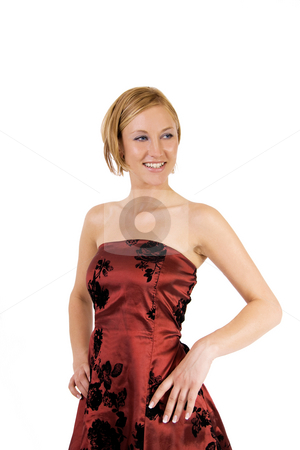 Woman in red dress stock photo, Beautiful blond woman in red cocktail dress by Daniel Kafer