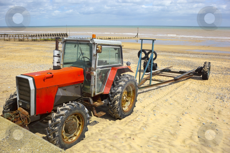 Tractor and boat trailer stock photo, A tractor with a boat trailer on a beach in summer by Mike Smith