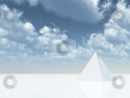 Pyramid stock photo, White pyramid under cloudy blue sky - 3d illustration by J?