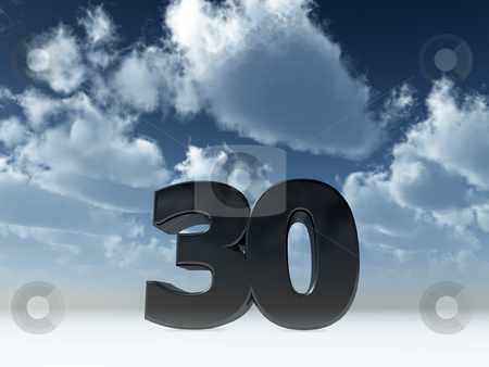 Number thirty stock photo, The number thirty - 30 - in front of blue sky - 3d illustration by J?