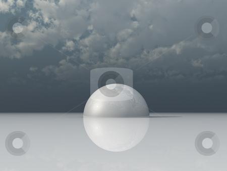 Hemisphere stock photo, White hemisphere under dark cloudy sky - 3d illustration by J?