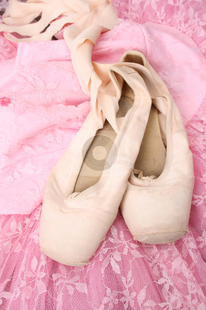 Ballet Costume stock photo, Pink Ballet costume and worn pointe shoes by Vanessa Van Rensburg