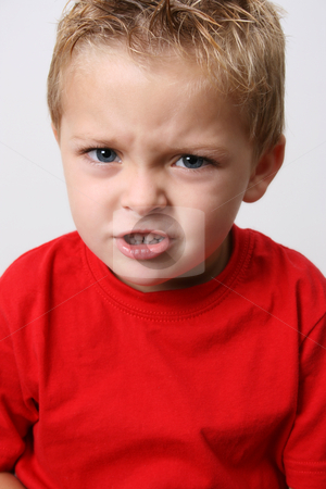 Growl stock photo, Beautiful blond toddler trying to make scary faces by Vanessa Van Rensburg