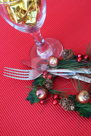 Christmas Setting stock photo, Christmas Table setting with cutlery and wine glass by Vanessa Van Rensburg