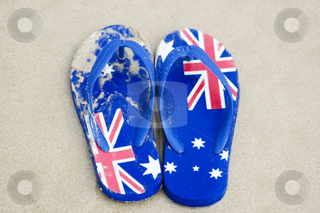 Aussie Footwear stock photo, Thongs, flip-flops, sandles, featuring the design of Australia's flag. by Lee Torrens
