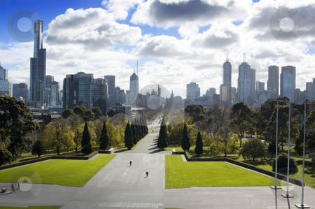Melbourne, Australia stock photo, A hilltop view of Melbourne, the Garden City. by Lee Torrens