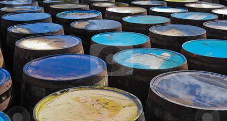 Whisky barrels stock photo, Tops of scotch whisky barrels by Jaime Pharr