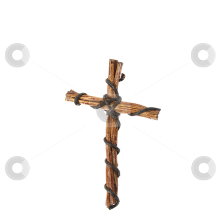Cross stock photo, Artistic Cross woven from wood and wire by Vanessa Van Rensburg