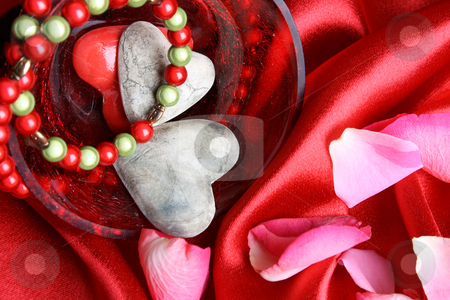 Valentines day hearts stock photo, Valetines day hearts with bracelet and petals by Vanessa Van Rensburg