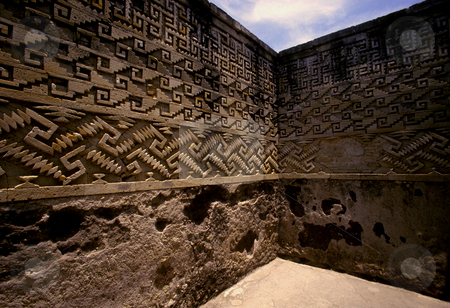Mitla stock photo, Mexico, Oaxaca, Pre-Columbian ruins of Mitla, Wall Mosaics by David Ryan