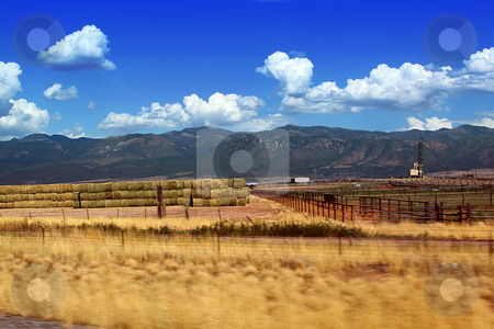 Rural Scene in Utah stock photo, Farm right by the highway in Utah by Mehmet Dilsiz