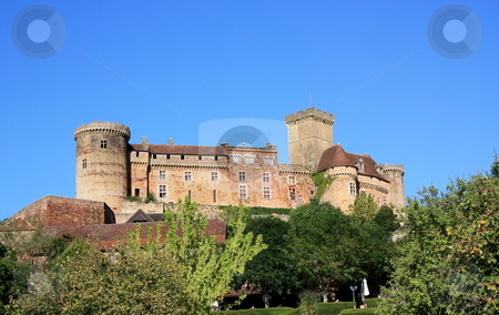 Chateau Castelnau-Bretenoux stock photo, Chateau Castelnau-Bretenoux situated in the commune of Prudhomat, Lot, France, is an impressive military chateau begun in 1100 and enlarged during the 12th to 15thC as it was adapted to artillery by Gozzoli