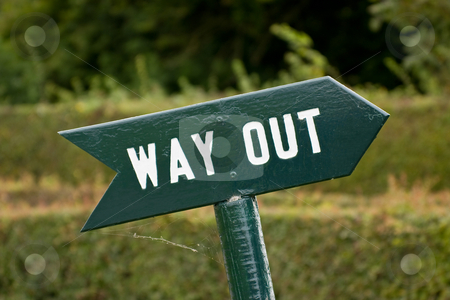 Way Out sign stock photo, Sign pointing the way out with clipping path by Gabriele Mesaglio
