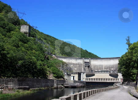 Hydroelectricity, Sustainable Energy stock photo, The hydroelectric barrage at Chastang on the Dordogne River, France. by Gozzoli