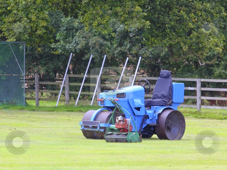 Cricket roller and mower stock photo, A cricket roller and mower on a cricket field by Mike Smith